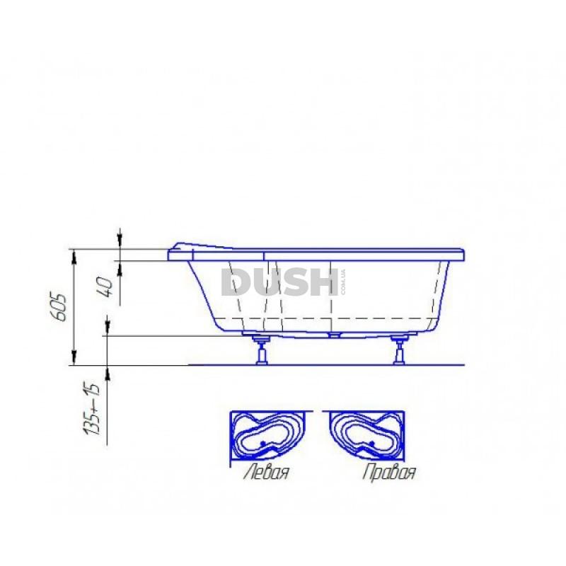 Ванна акриловая Parma L/R 170х110