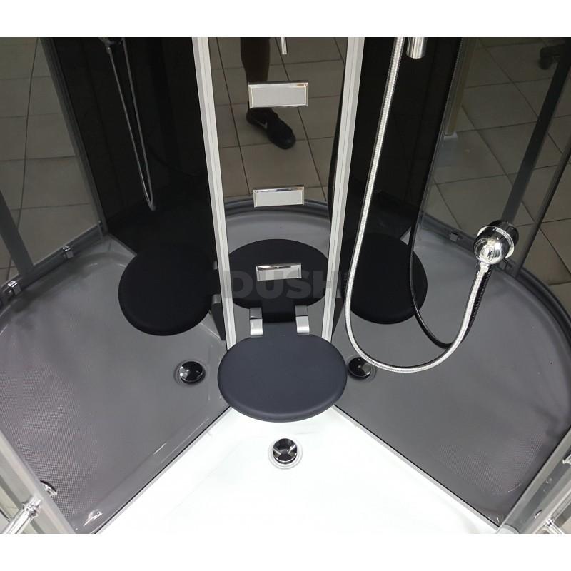 Душевой бокс VERONIS BN-5-100 черный (передние стекла прозрачные) 100х100х220