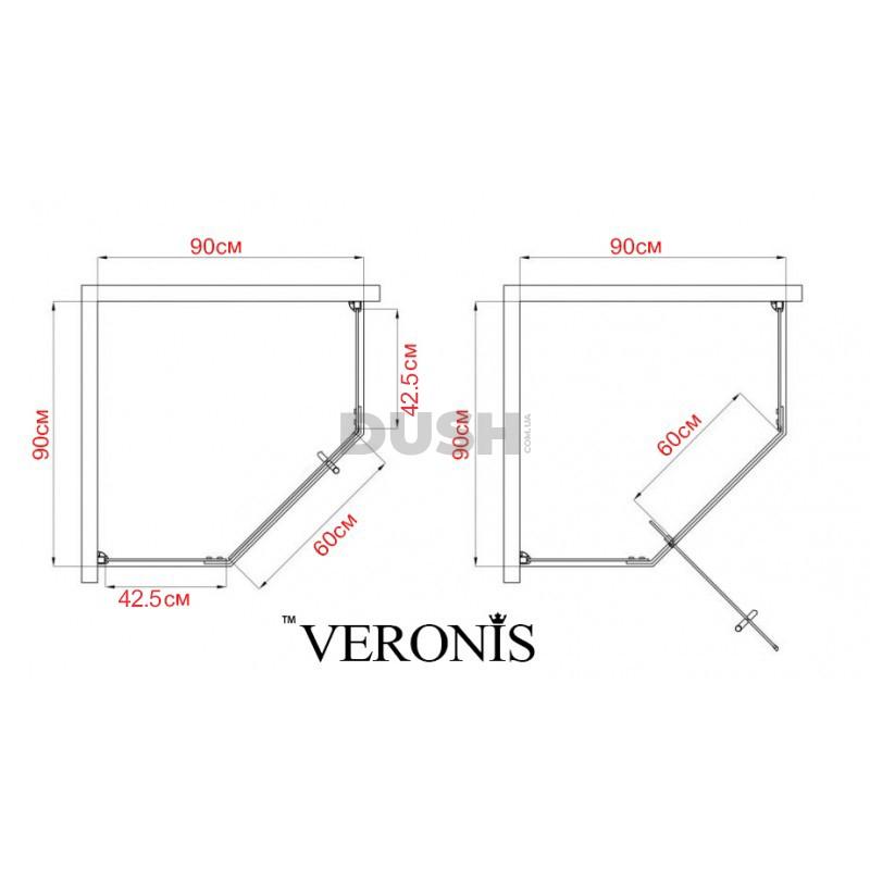 Душевая кабина VERONIS KN-10-90 black 90х90х209