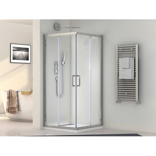 Кабина душевая Santeh квадратная 1902810 100x80х190 стекло прозрачное / профиль алюминиевый хромированный