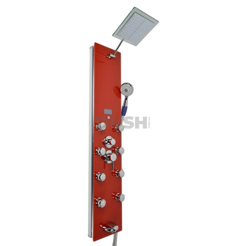 Гидромассажная панель Dusel DU787392R хром/красное стекло