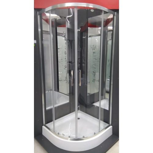 Кабина душевая полукруглая 1701 90х90х195 стекло прозрачное / профиль алюминиевый хромированный (без поддона)