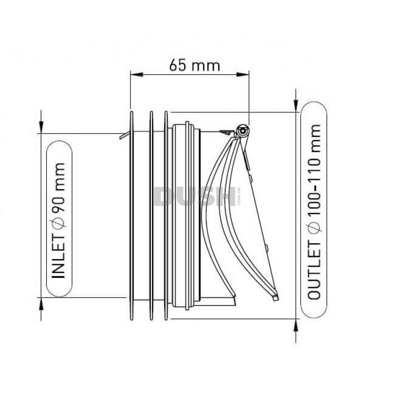 NOVA Клапан зворотного ходу для каналізаційної труби Ø 110 мм