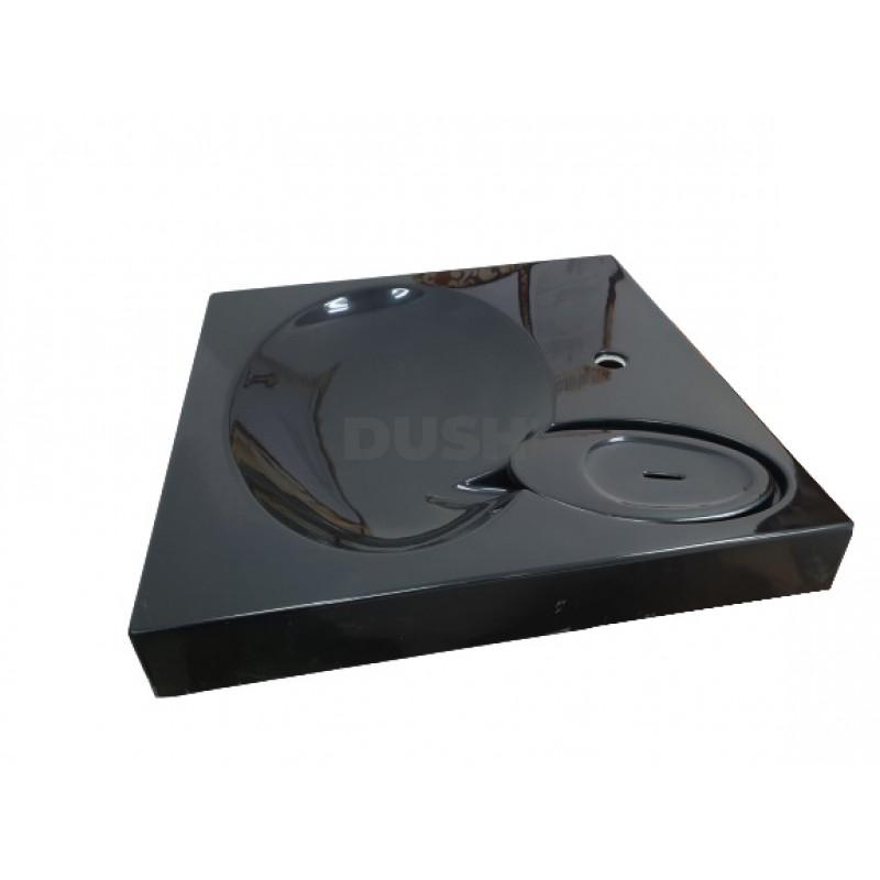 Черный акриловый умывальник на стиральную машину Redokss San APR 013-17 60х60х8