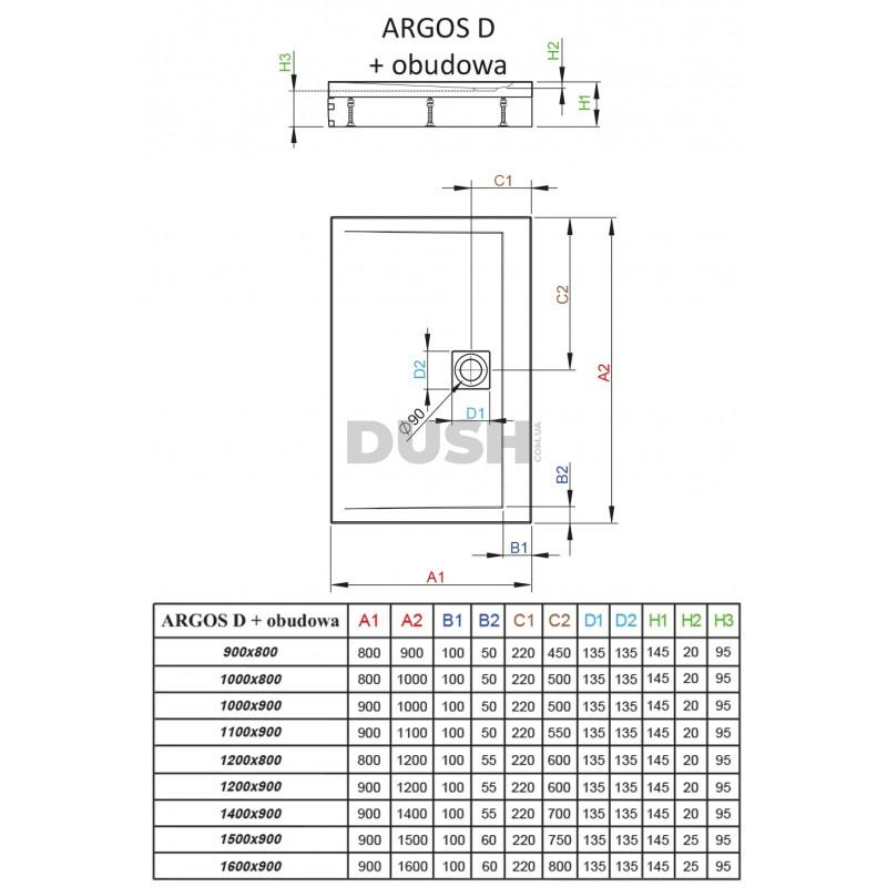 Argos D со съемной панелью (4ADN916-02) 160х90х14,5