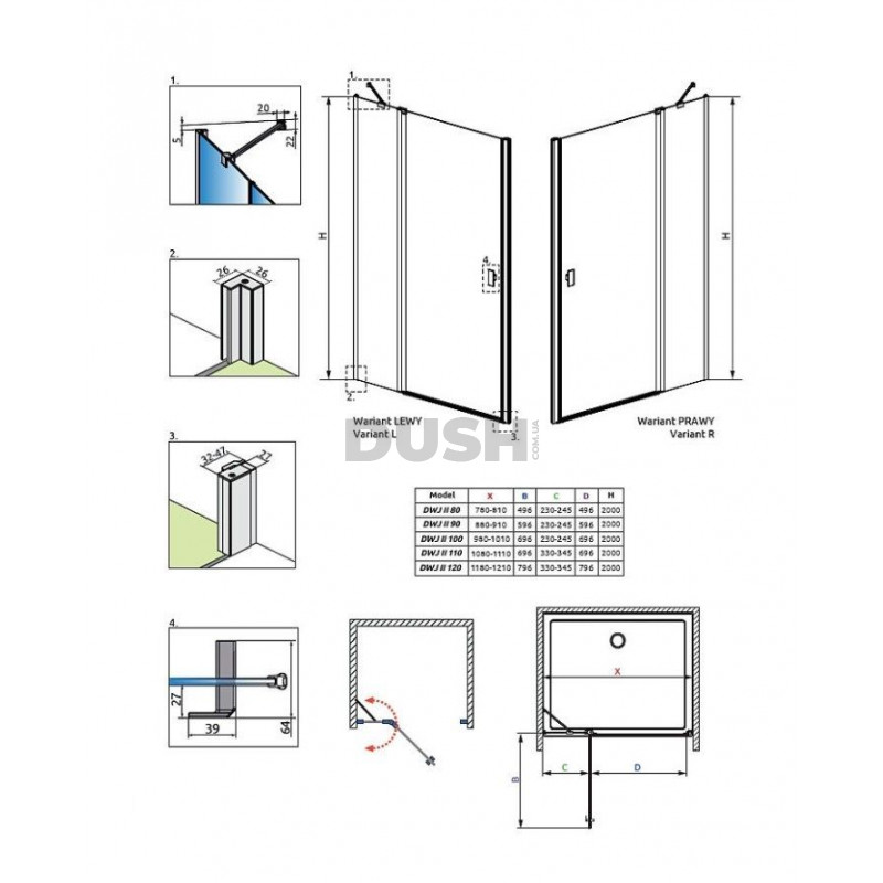Душевая дверь Radaway Nes DWJ II 100 (10036100-01-01R)
