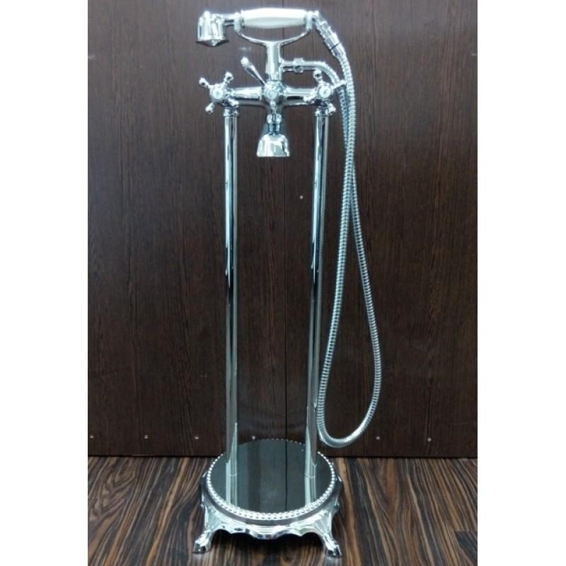 Напольный смеситель для ванны Atlantis 3011 цвет серебро