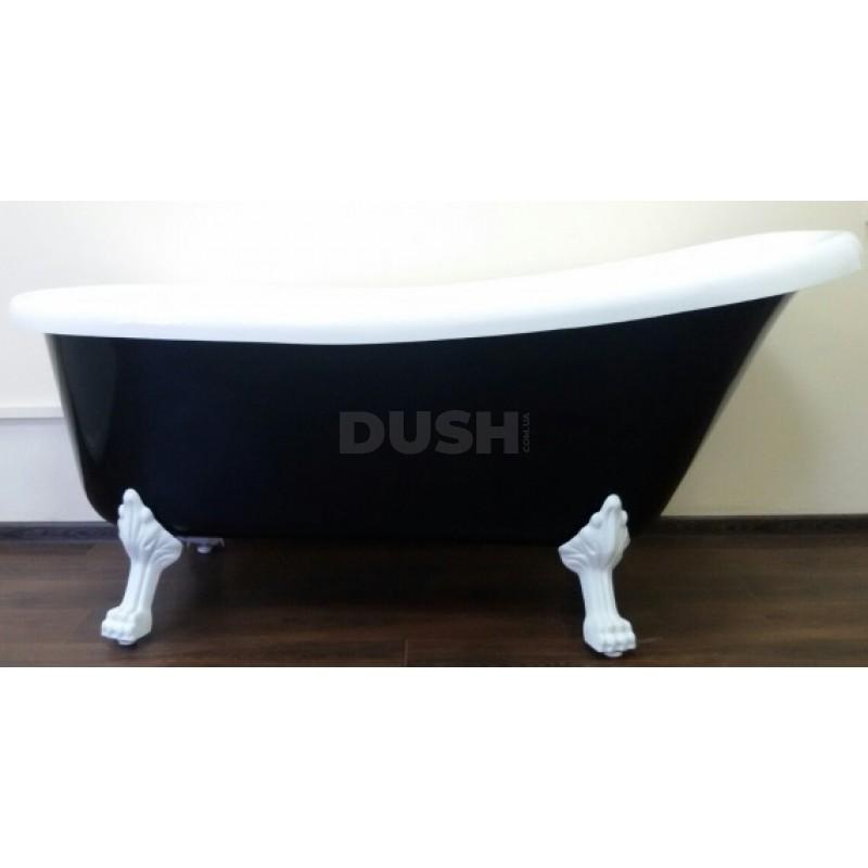 Ванна акриловая ATLANTIS C-3015 Black ножки белые (без перелива) 170х74х78
